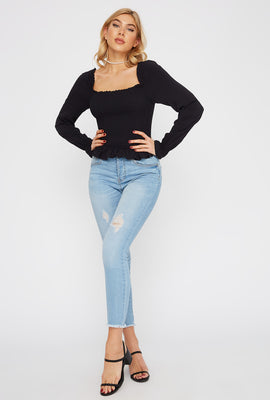 Frill Hem Long Sleeve Peasant Top