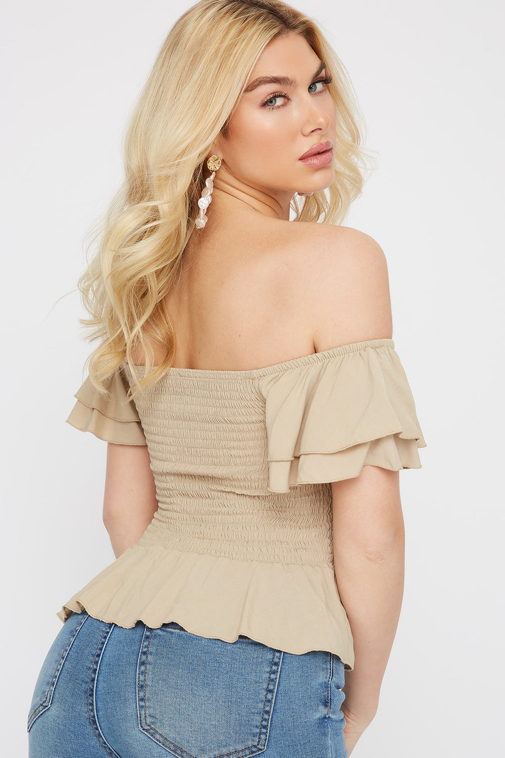 Off The Shoulder Smocked Lace-Up Peplum Top Tan