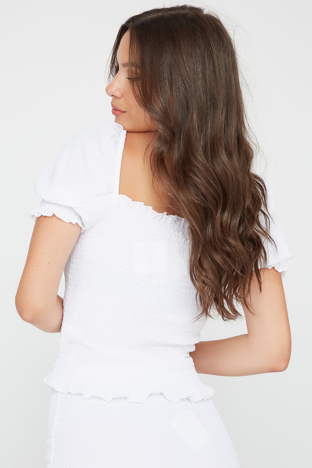 Puff Sleeve Smocked Top White