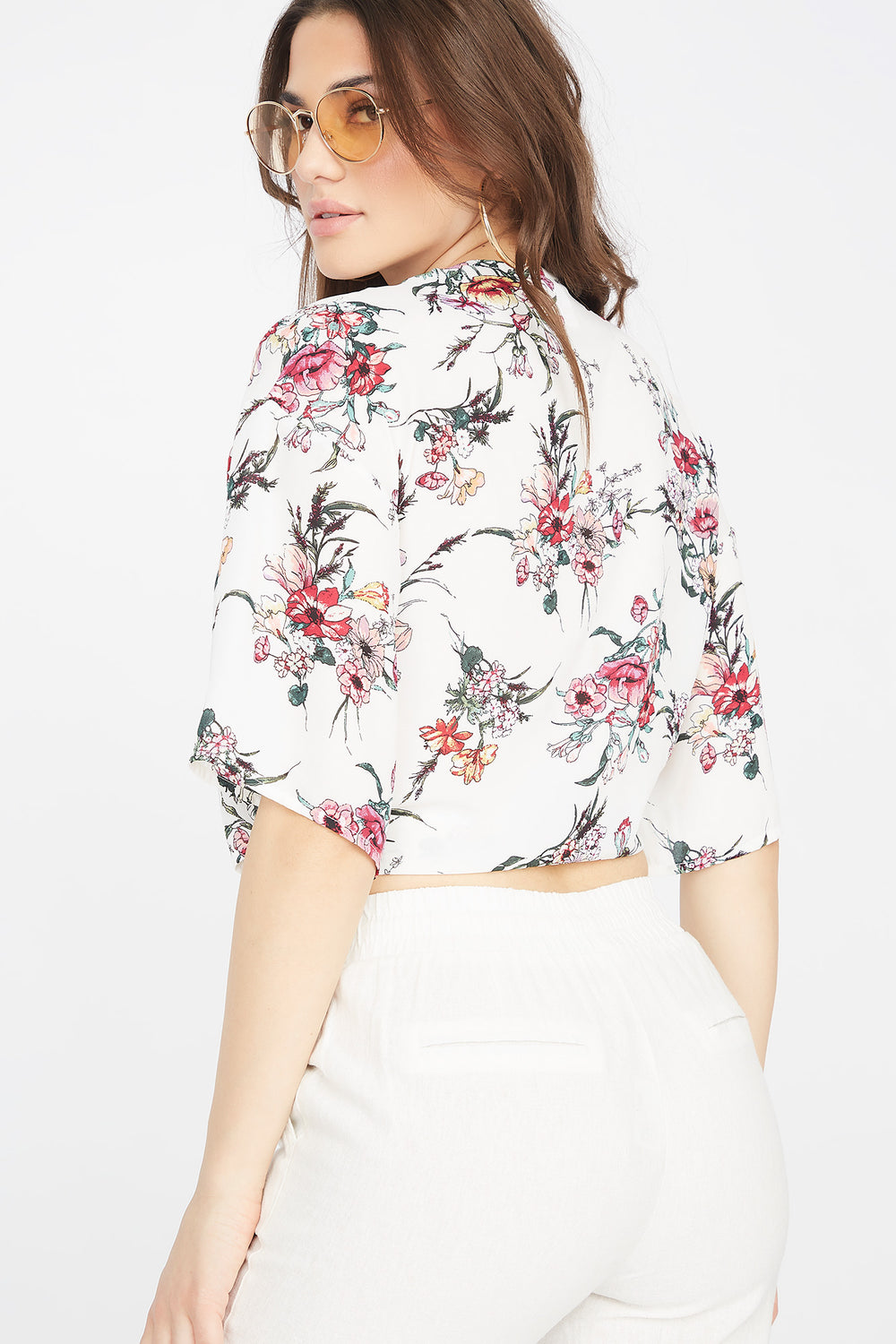 White Floral V-Neck Self-Tie Knot Blouse Ivory