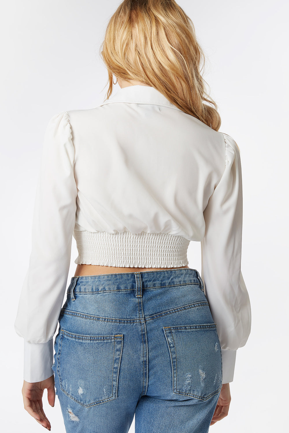 Multi-Way Puff Sleeve Front Tie Cropped Top Ivory
