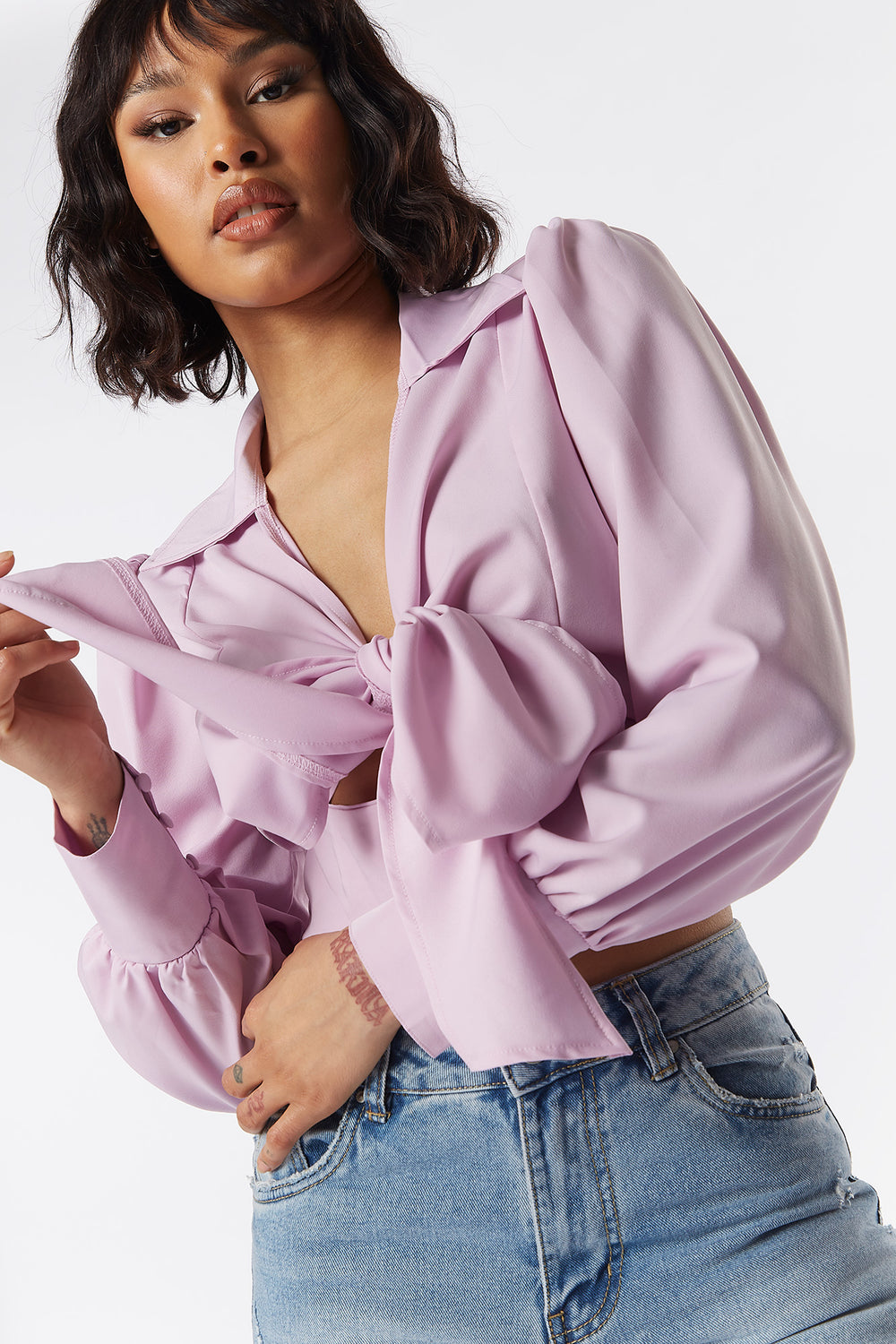Multi-Way Puff Sleeve Front Tie Cropped Top Lilac