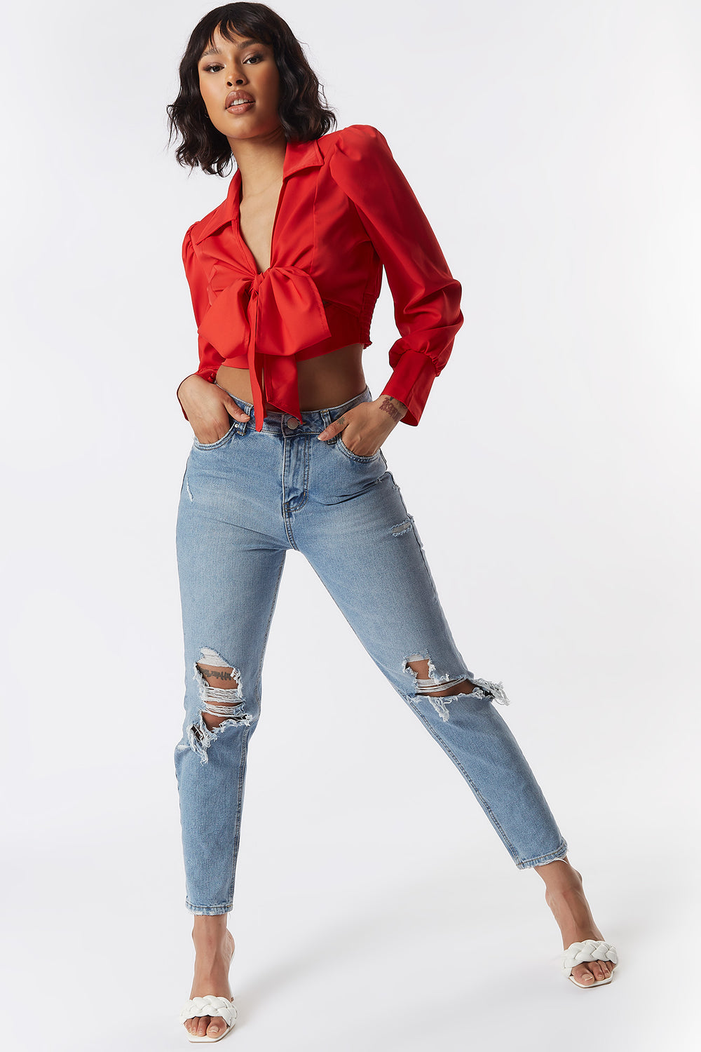 Multi-Way Puff Sleeve Front Tie Cropped Top Red