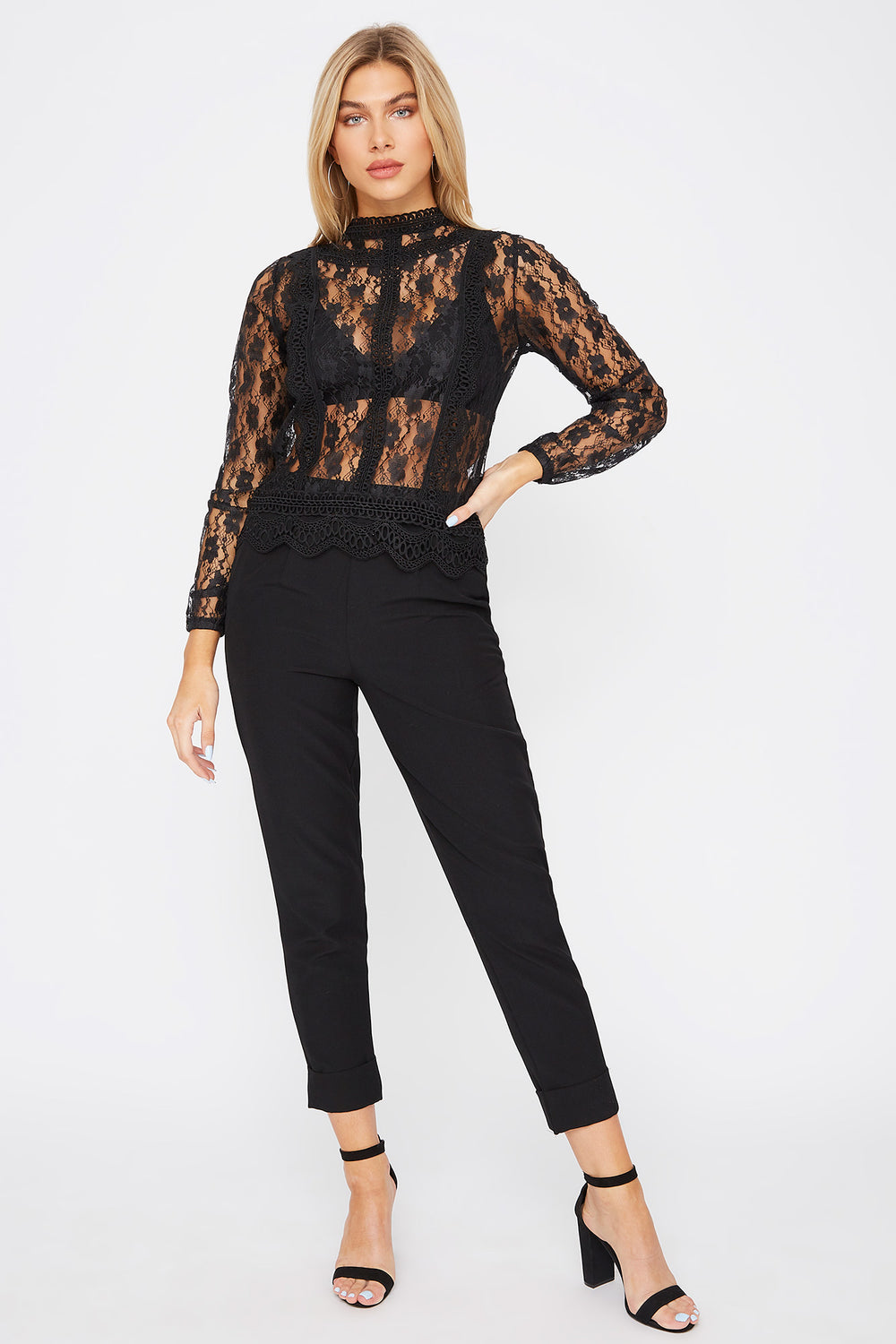 High Neck Lace Blouse Black
