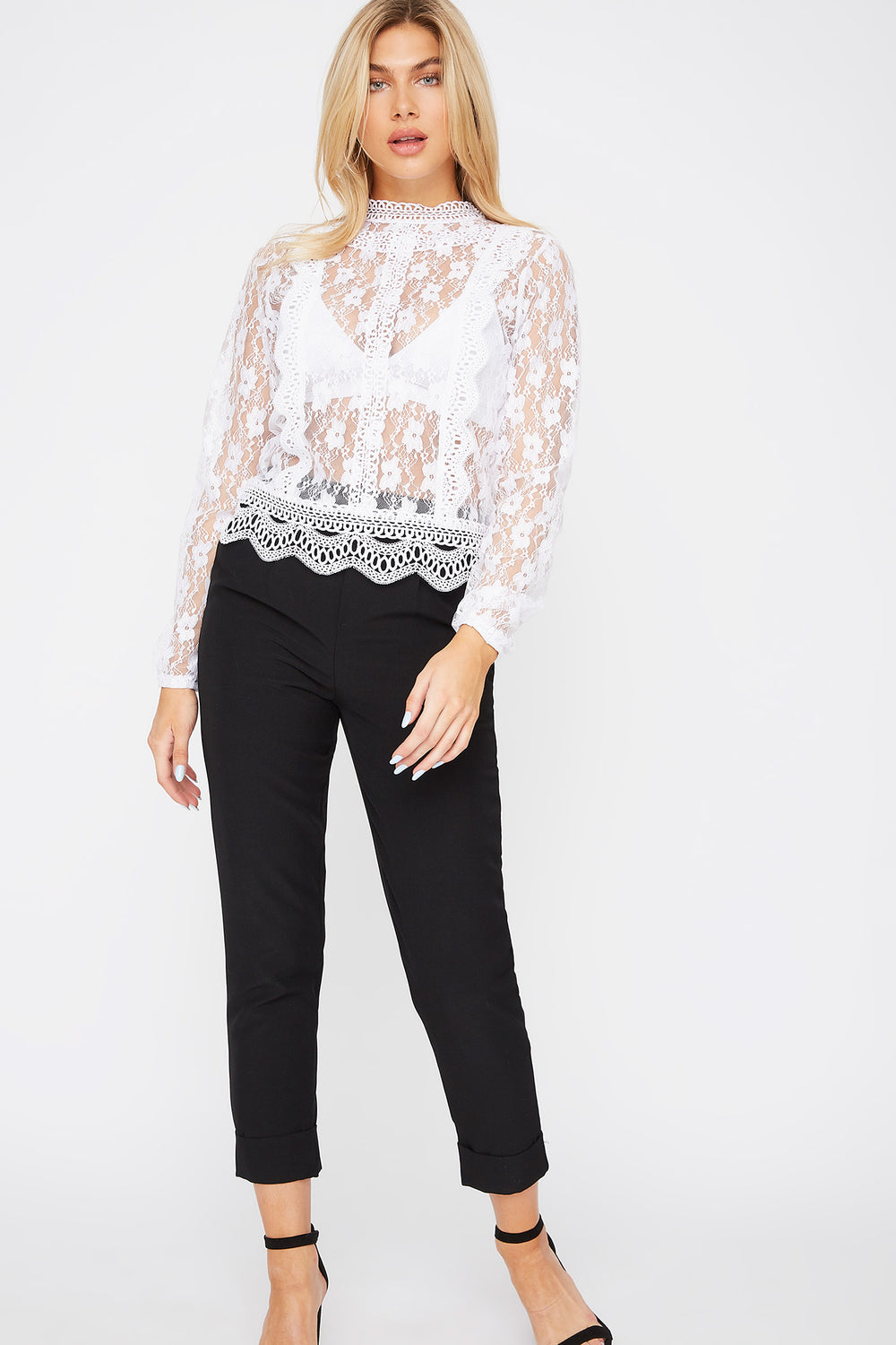 High Neck Lace Blouse White