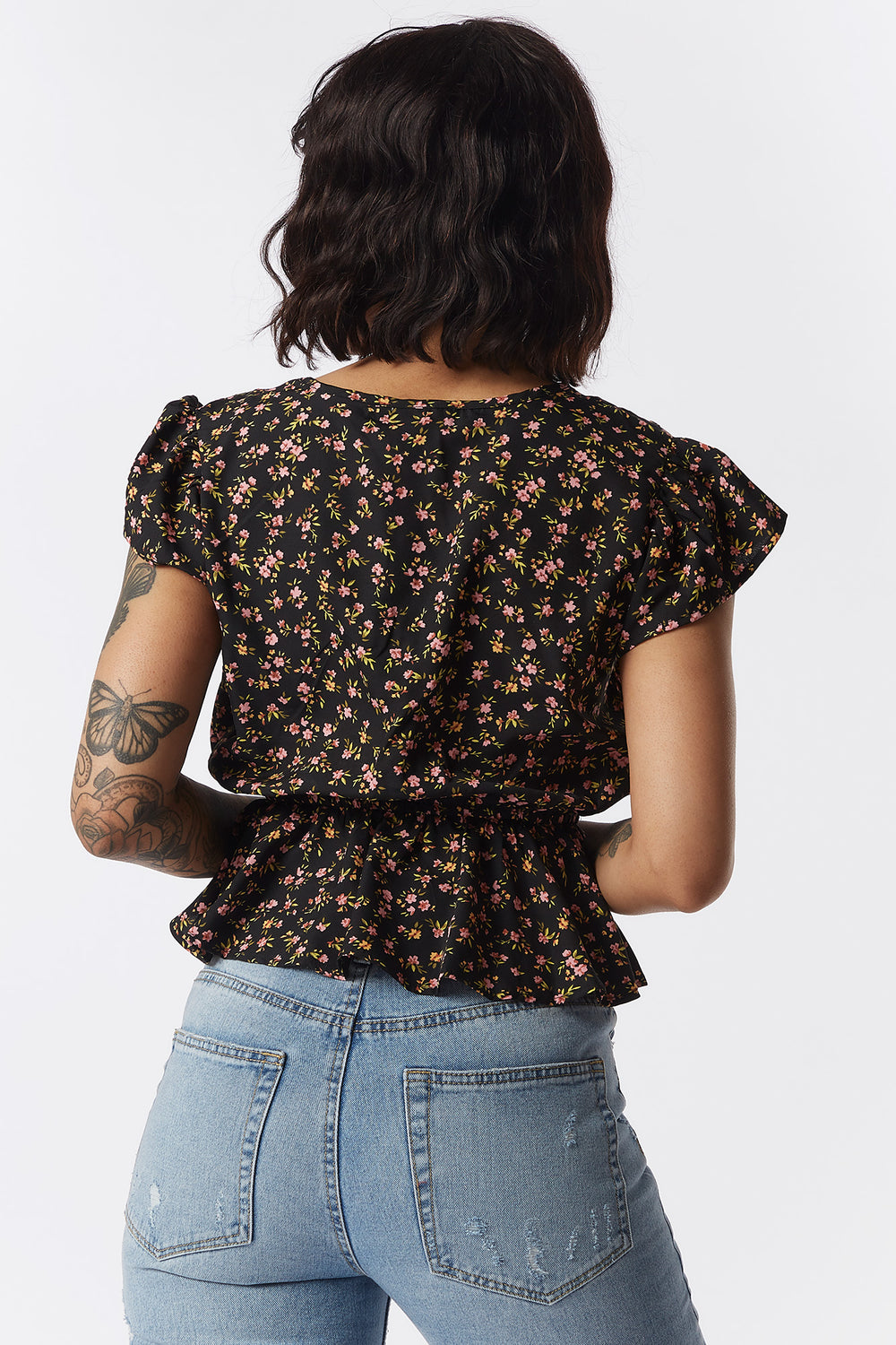 Floral Printed Button-Front Self-Tie Peplum Blouse Black