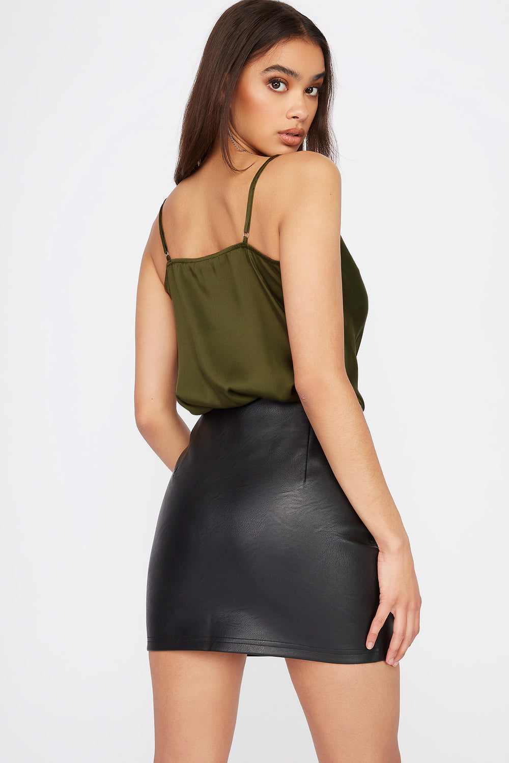 Cowl Neck Tank Top Dark Green