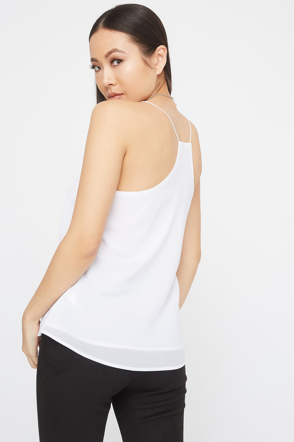 V-Neck Racer Back Lace Trim Cami White