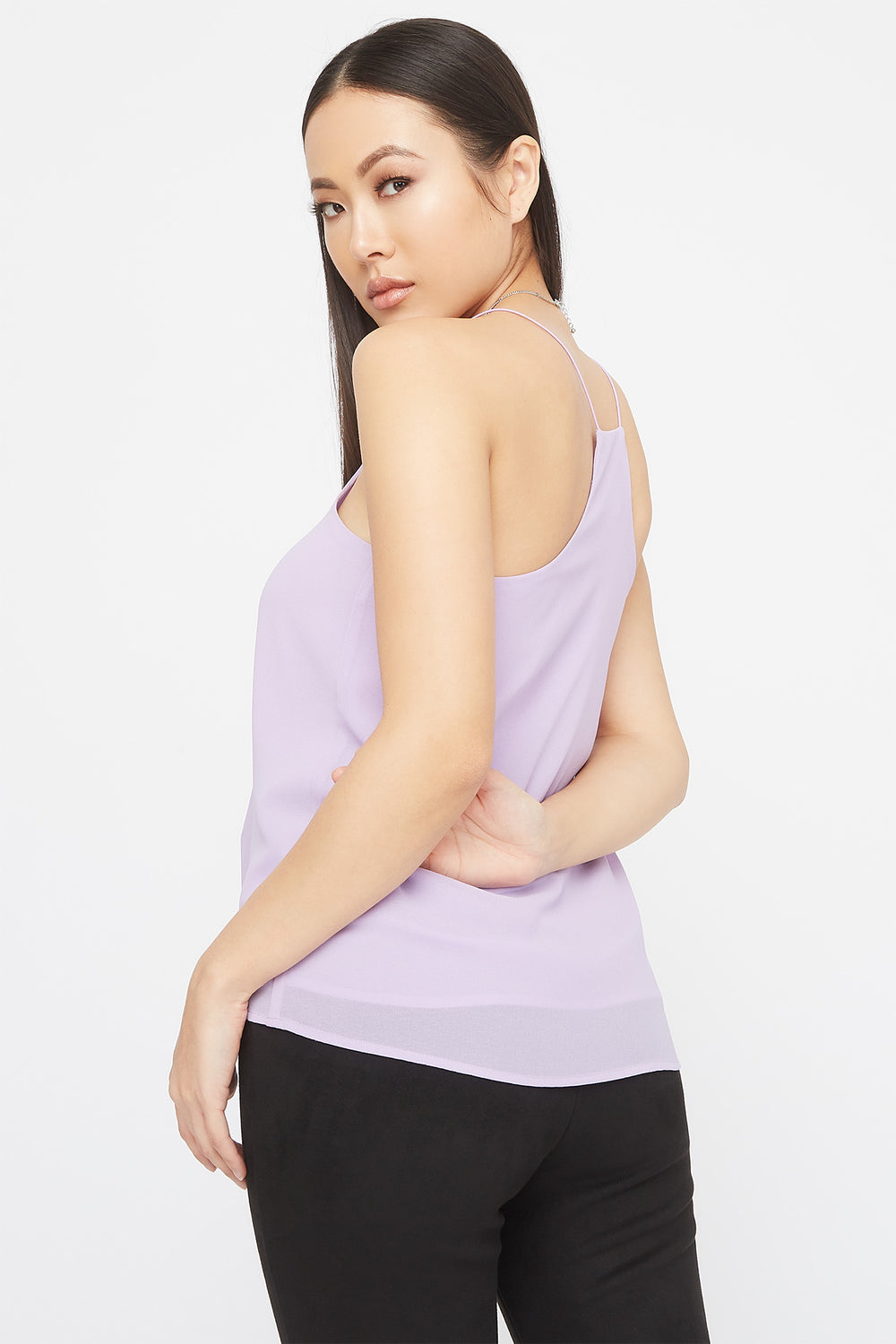V-Neck Racer Back Lace Trim Cami Lilac