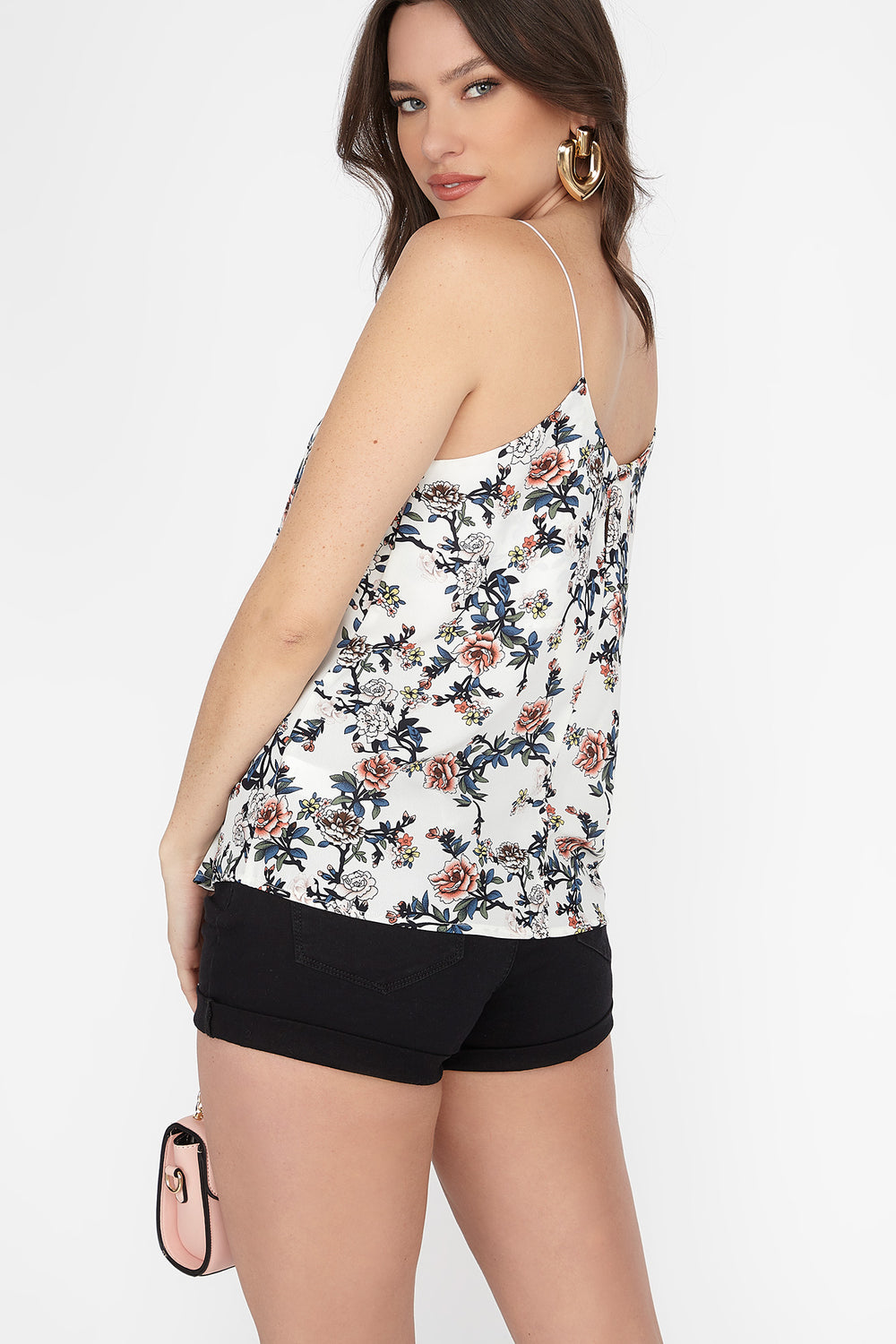 White Floral V-Neck Bungee Strap Cami Ivory