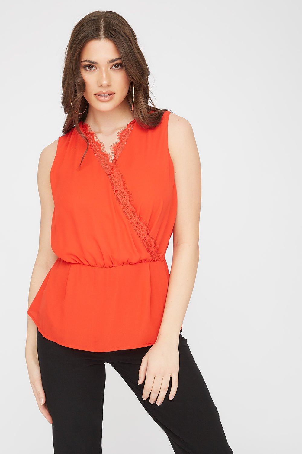 Lace Trim V-Neck Wrap Blouse Red