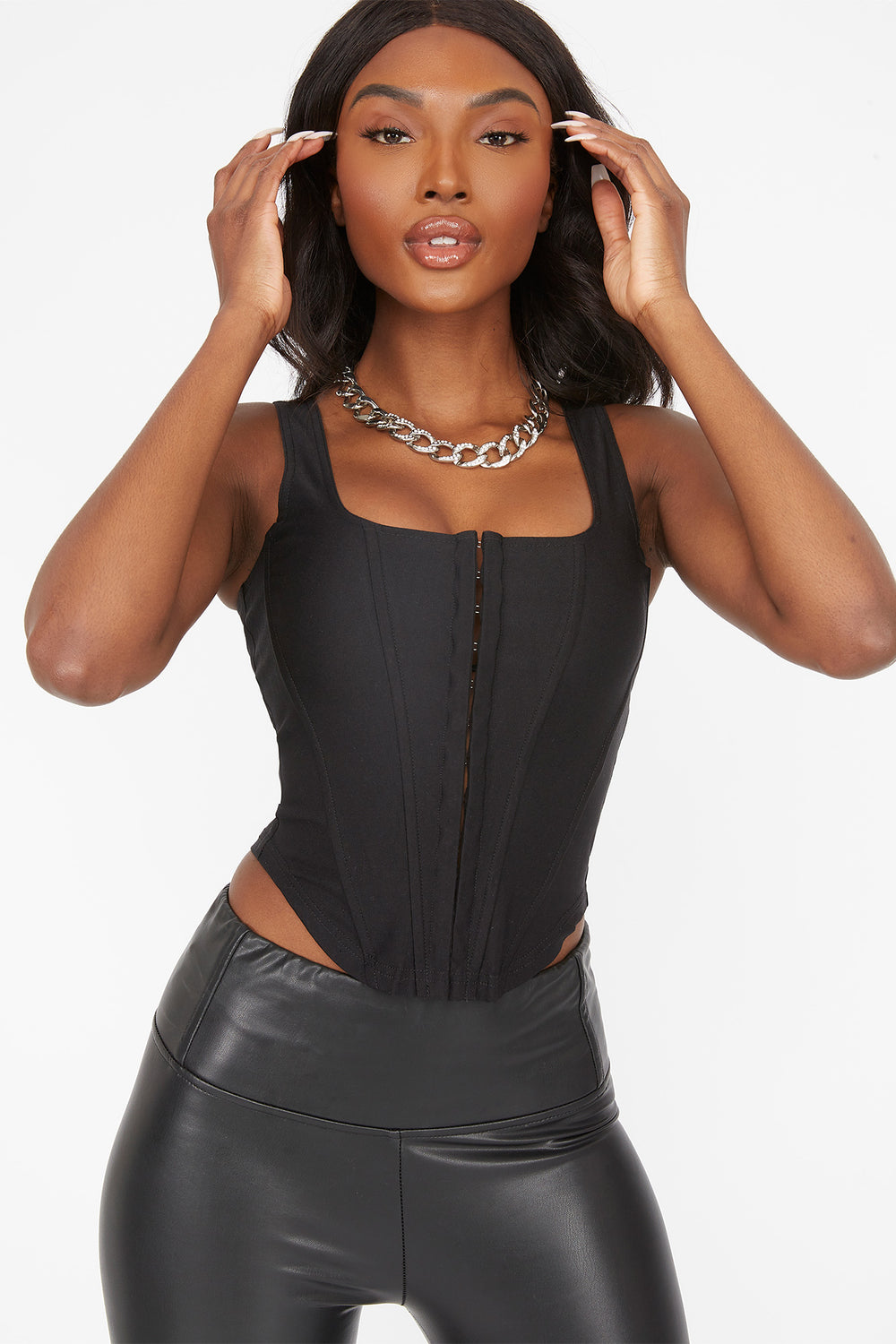 Straight Neck Hook And Eye Corset Top Black