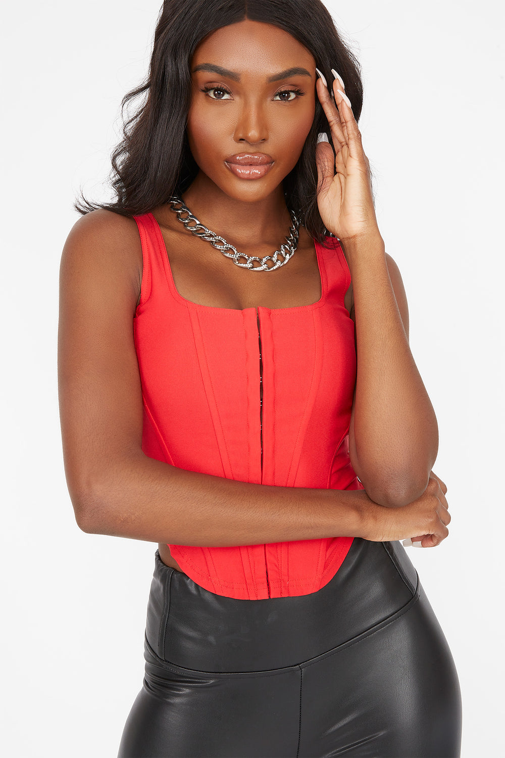 Straight Neck Hook And Eye Corset Top Red