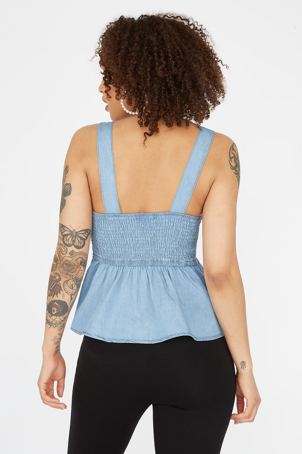 Chambray Sleeveless Peplum Top Denim Blue