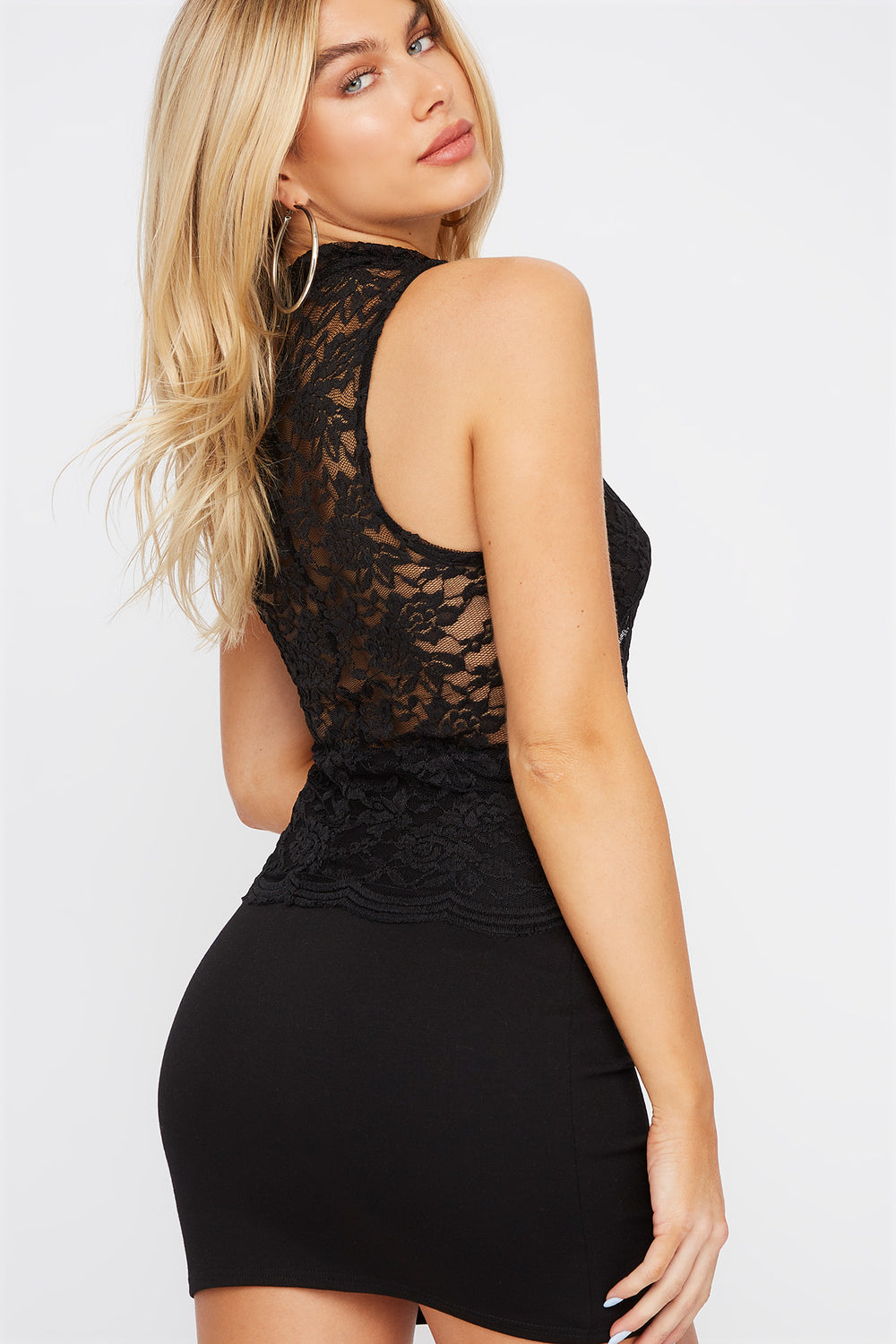 Sleeveless High Neck Lace Top Black