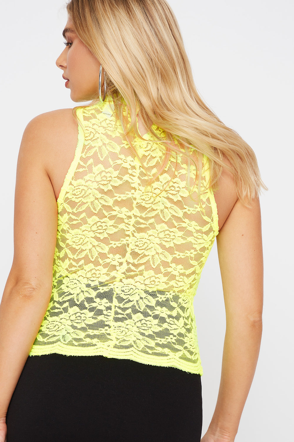 Sleeveless High Neck Lace Top Neon Yellow
