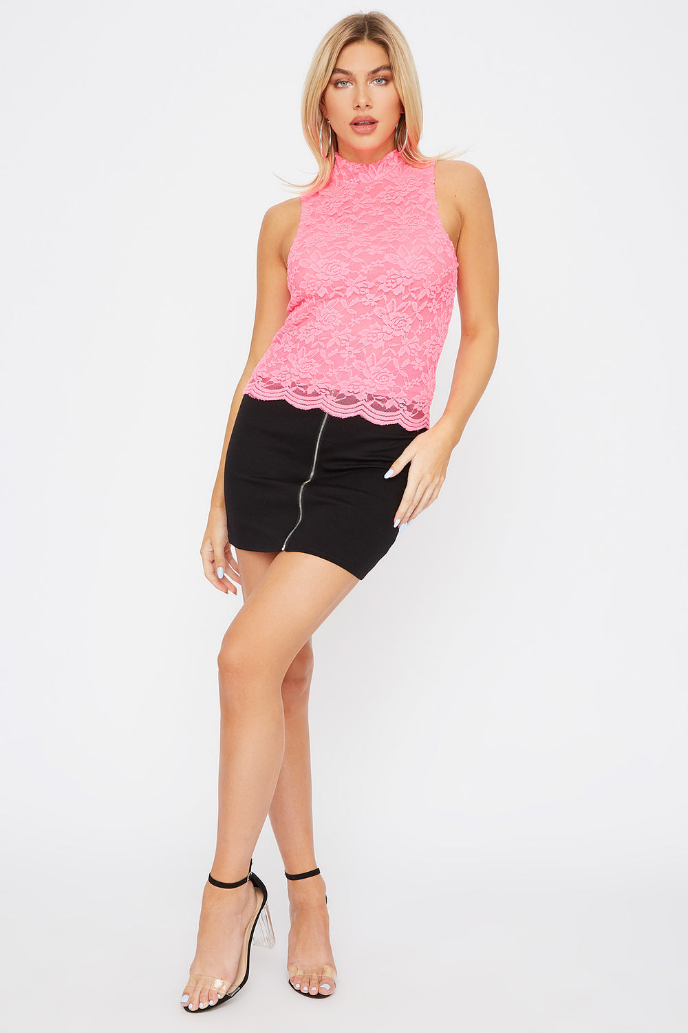 Sleeveless High Neck Lace Top Neon Pink