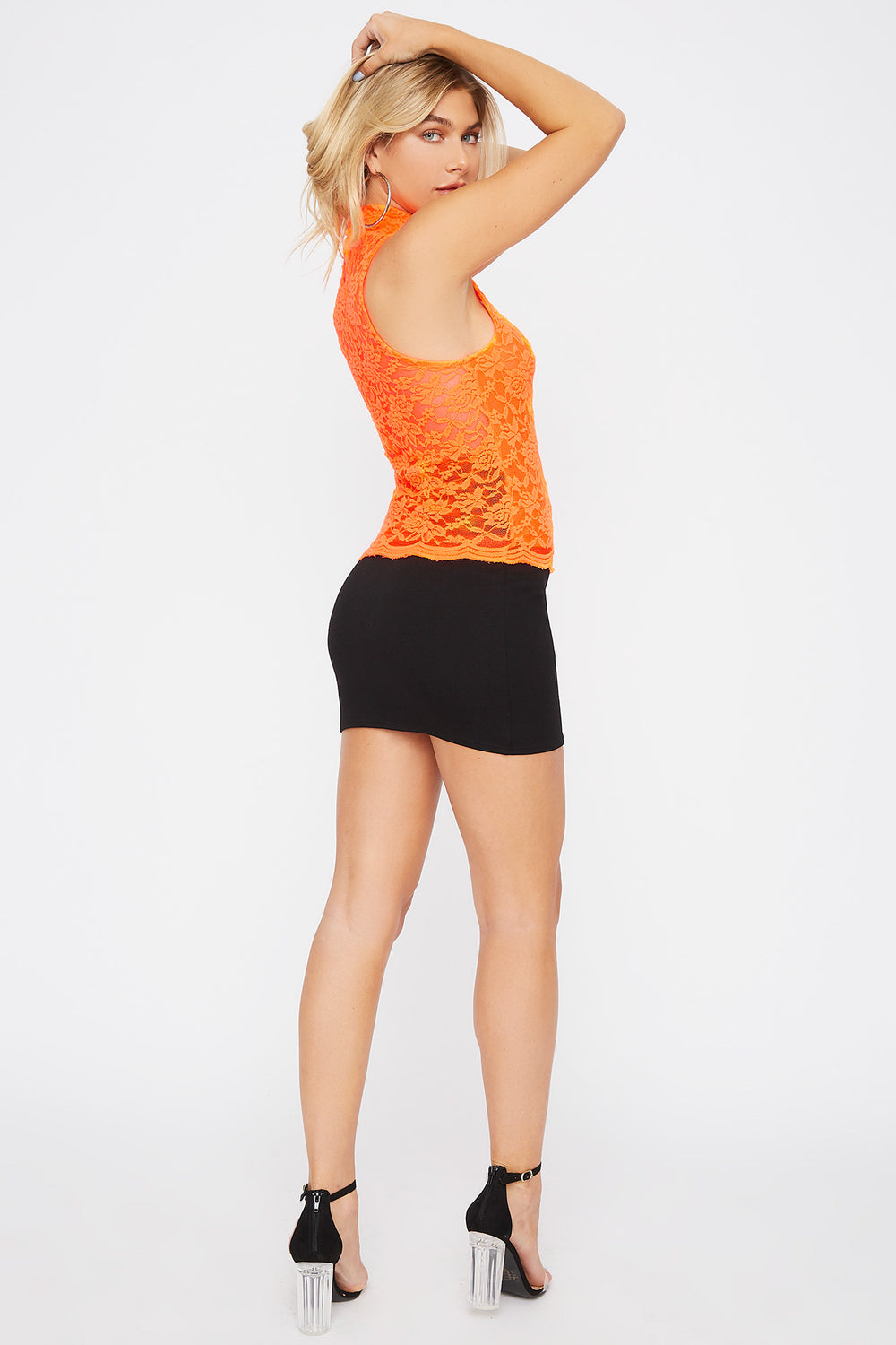 Sleeveless High Neck Lace Top Neon Orange