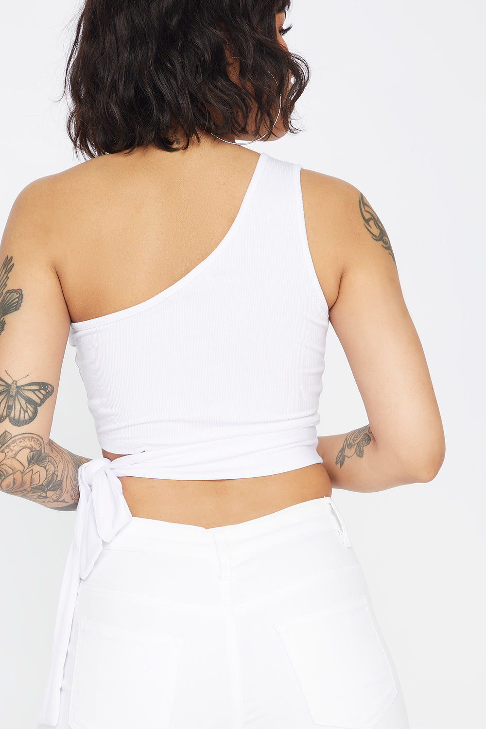 Ribbed One Shoulder Side Tie Cropped Top White