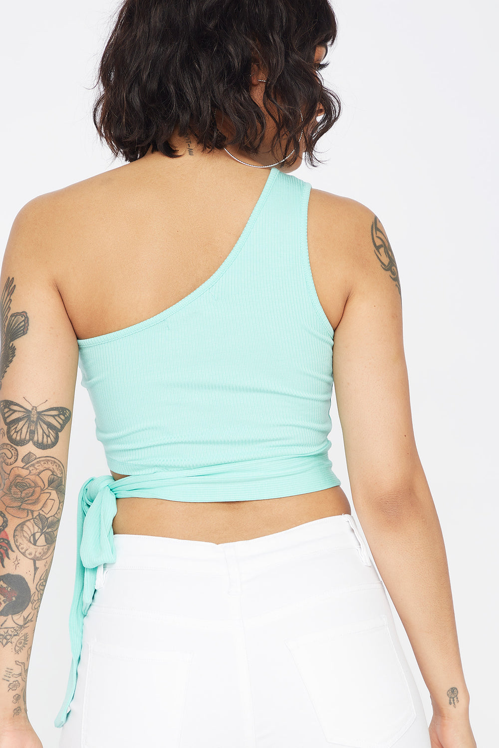 Ribbed One Shoulder Side Tie Cropped Top Turquoise