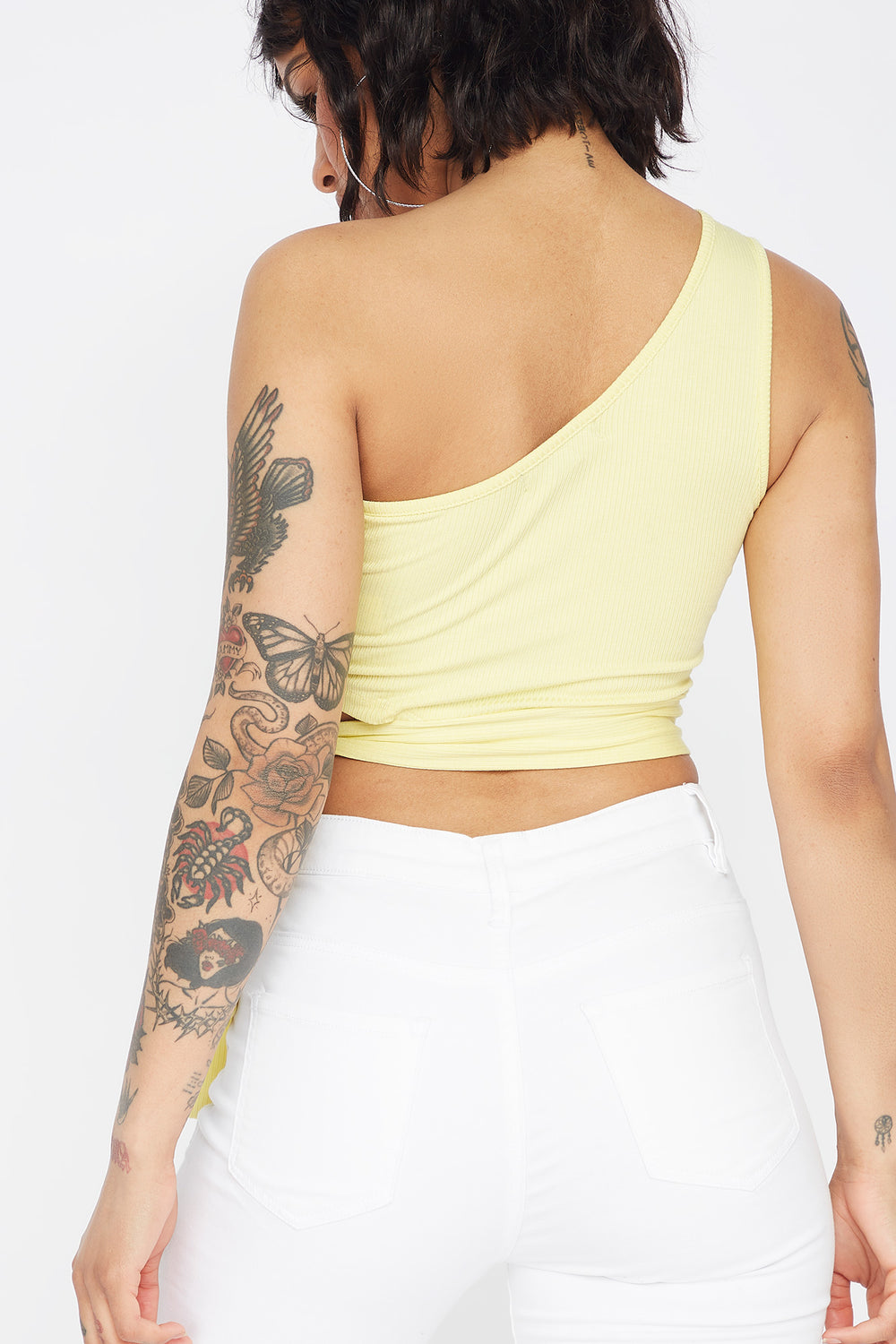 Ribbed One Shoulder Side Tie Cropped Top Pale Yellow