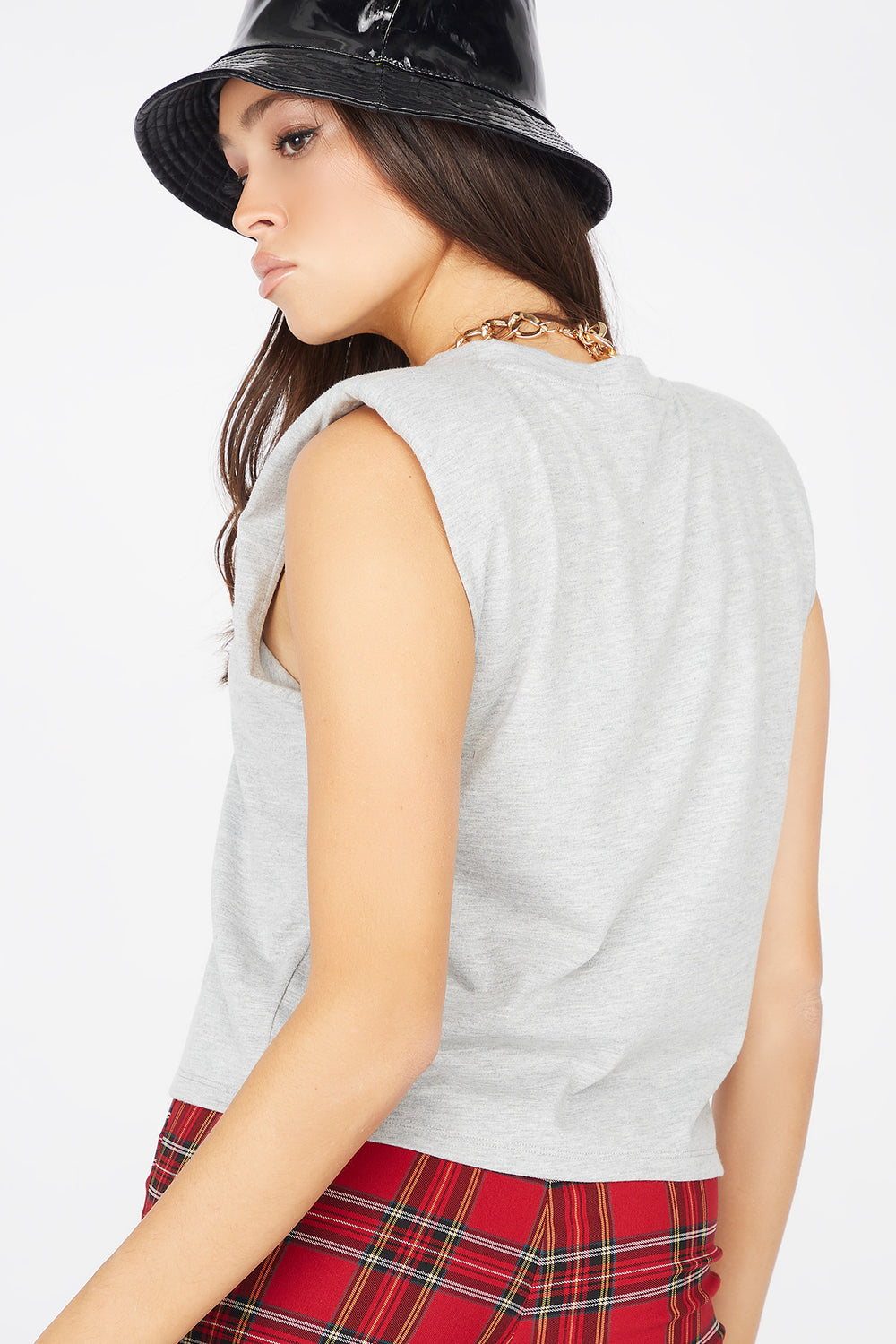 Power Shoulder Crew Neck Sleeveless Tank Heather Grey