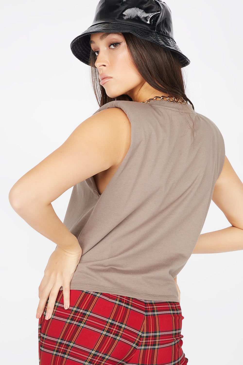 Power Shoulder Crew Neck Sleeveless Tank Brown