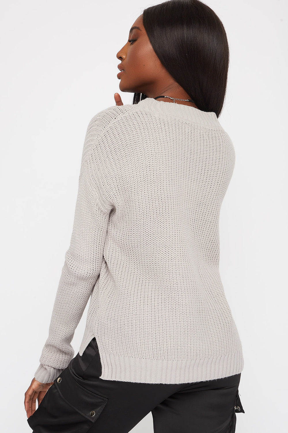 Boxy V-Neck Side Slit Cropped Sweater Heather Grey
