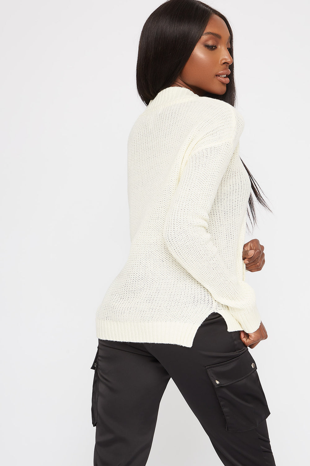 Boxy V-Neck Side Slit Cropped Sweater White