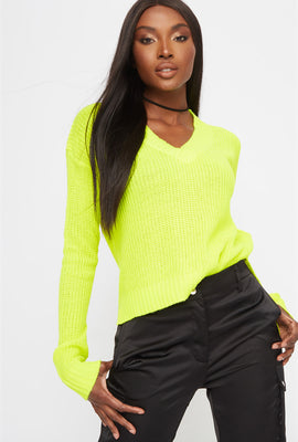 Boxy V-Neck Side Slit Cropped Sweater