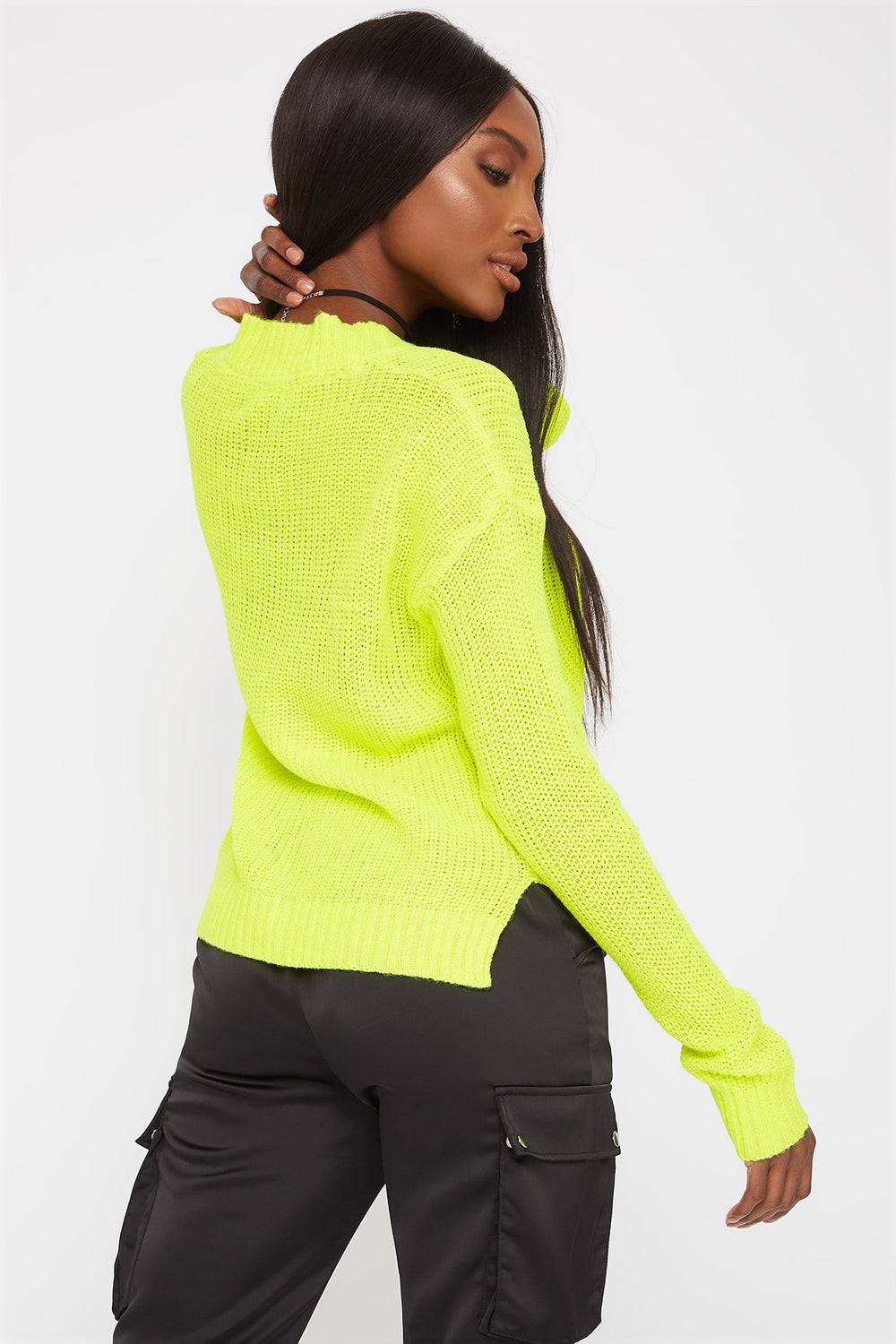 Boxy V-Neck Side Slit Cropped Sweater Neon Yellow