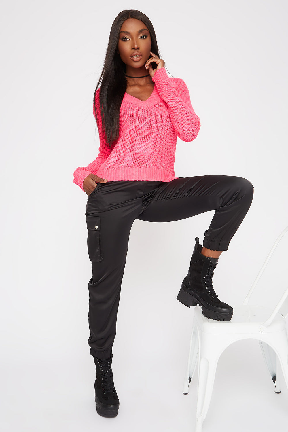 Boxy V-Neck Side Slit Cropped Sweater Neon Pink