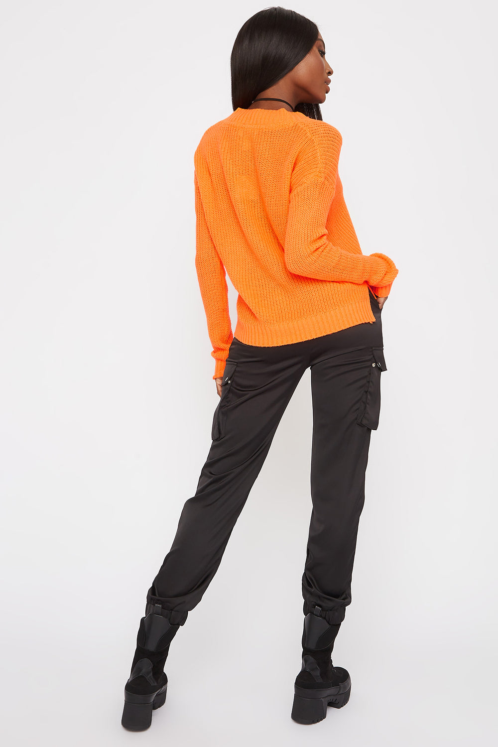 Boxy V-Neck Side Slit Cropped Sweater Orange