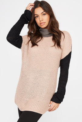 Colour Block Knit Turtleneck Sweater
