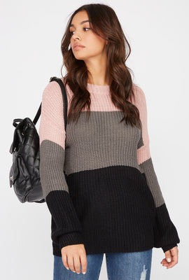 Knit Colour Block Crew Neck Sweater