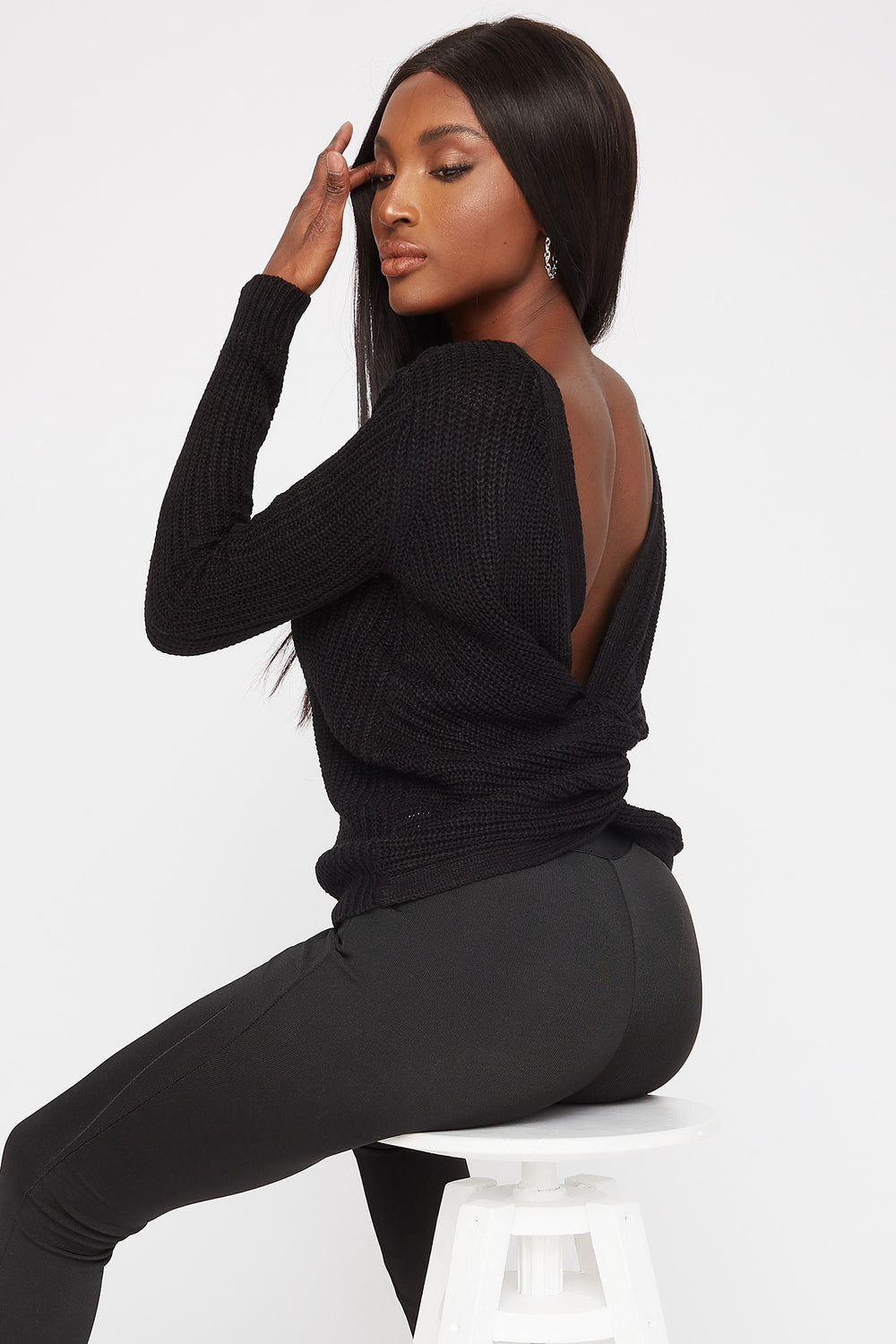 V-Neck Knotted Open Back Sweater Black
