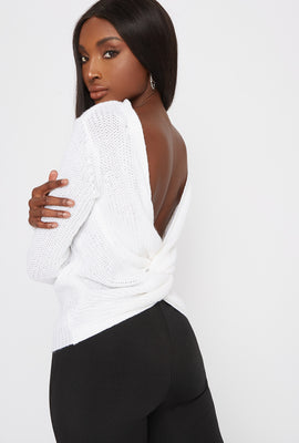 V-Neck Knotted Open Back Sweater