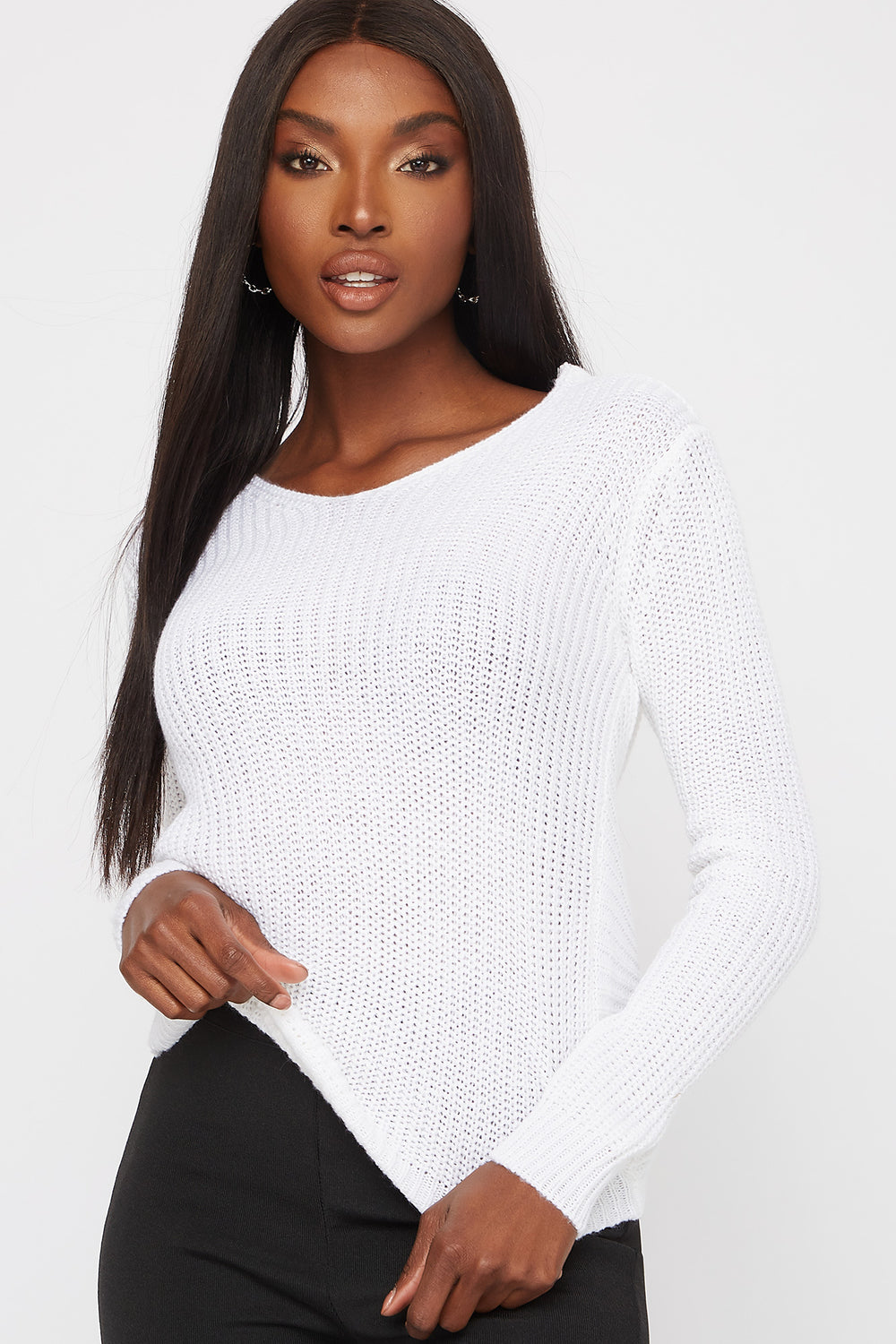 V-Neck Knotted Open Back Sweater White