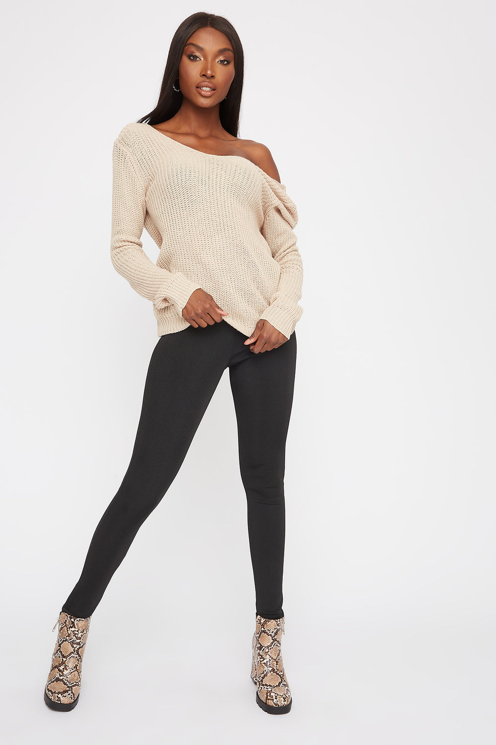 V-Neck Knotted Open Back Sweater Oatmeal