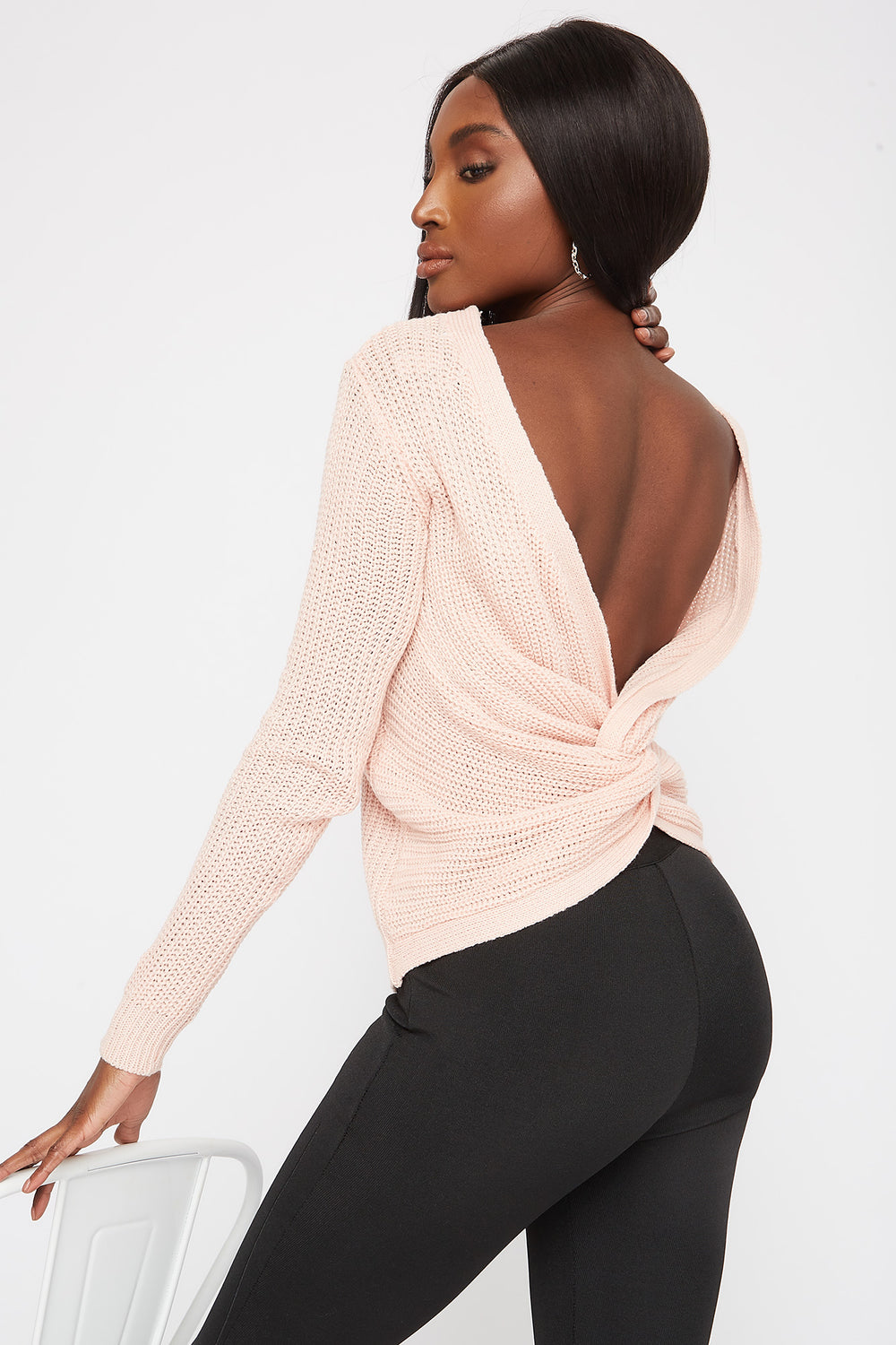V-Neck Knotted Open Back Sweater Dusty Rose