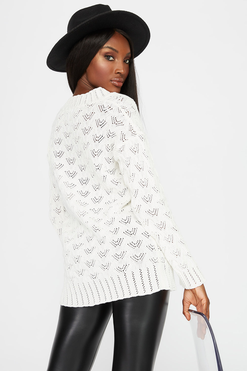 Crochet V-Neck Tunic Sweater White