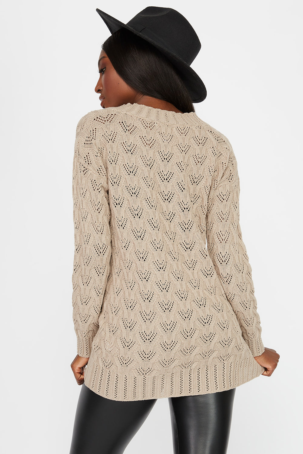 Crochet V-Neck Tunic Sweater Oatmeal