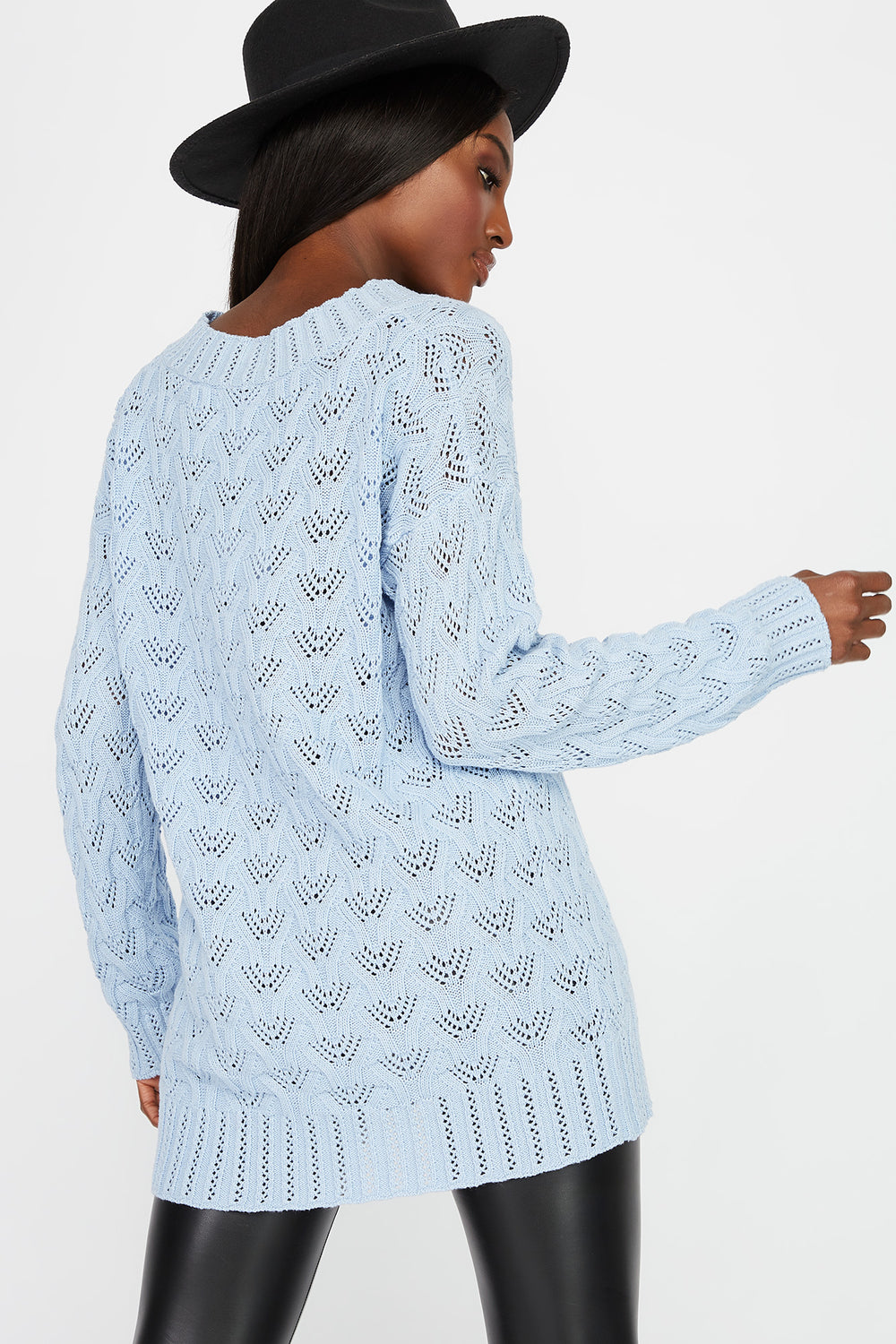 Crochet V-Neck Tunic Sweater Baby Blue