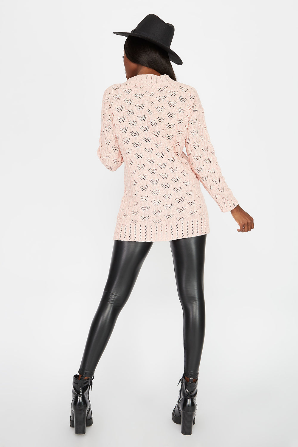 Crochet V-Neck Tunic Sweater Light Pink