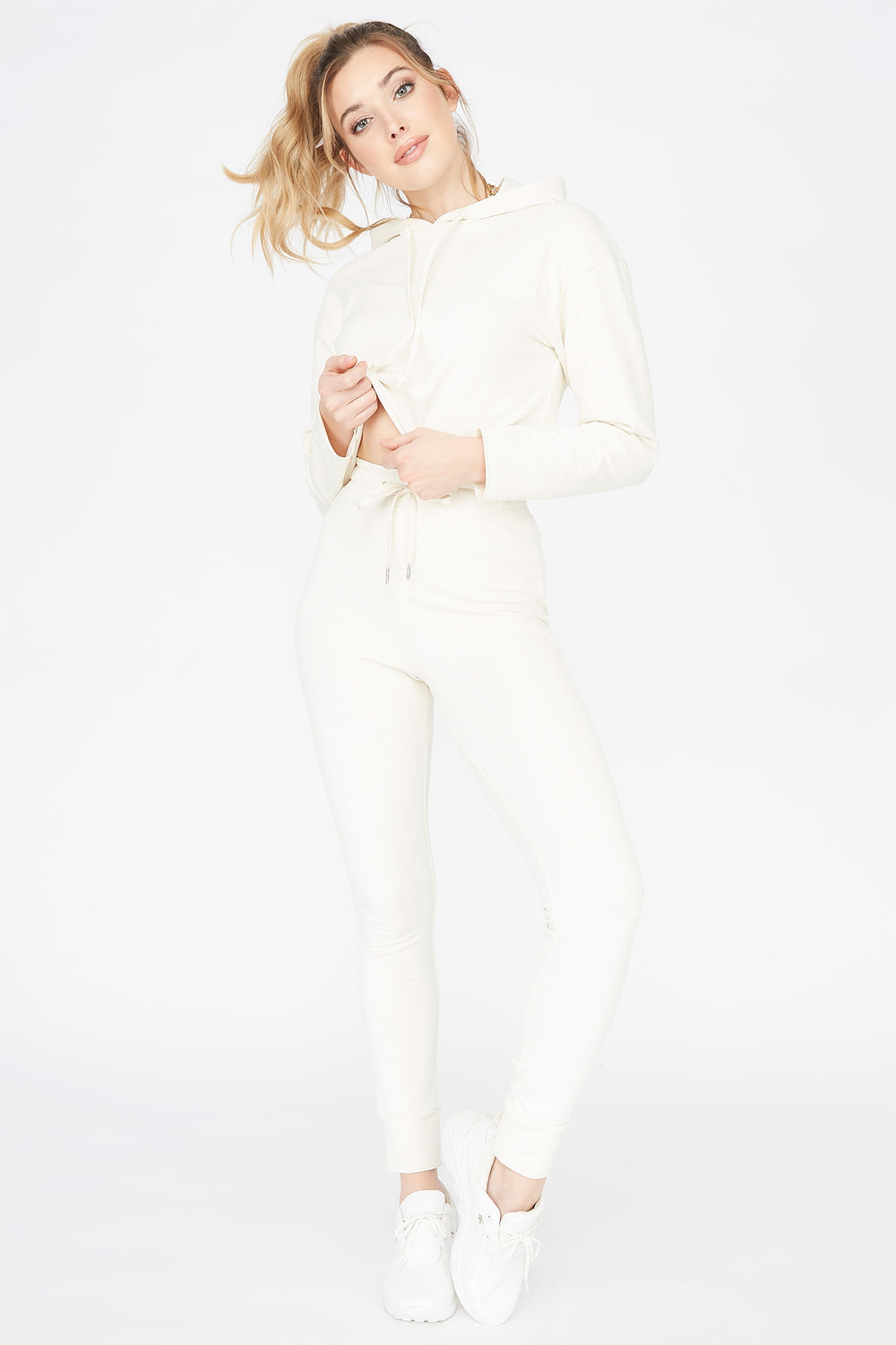 Cropped Popover Hoodie White
