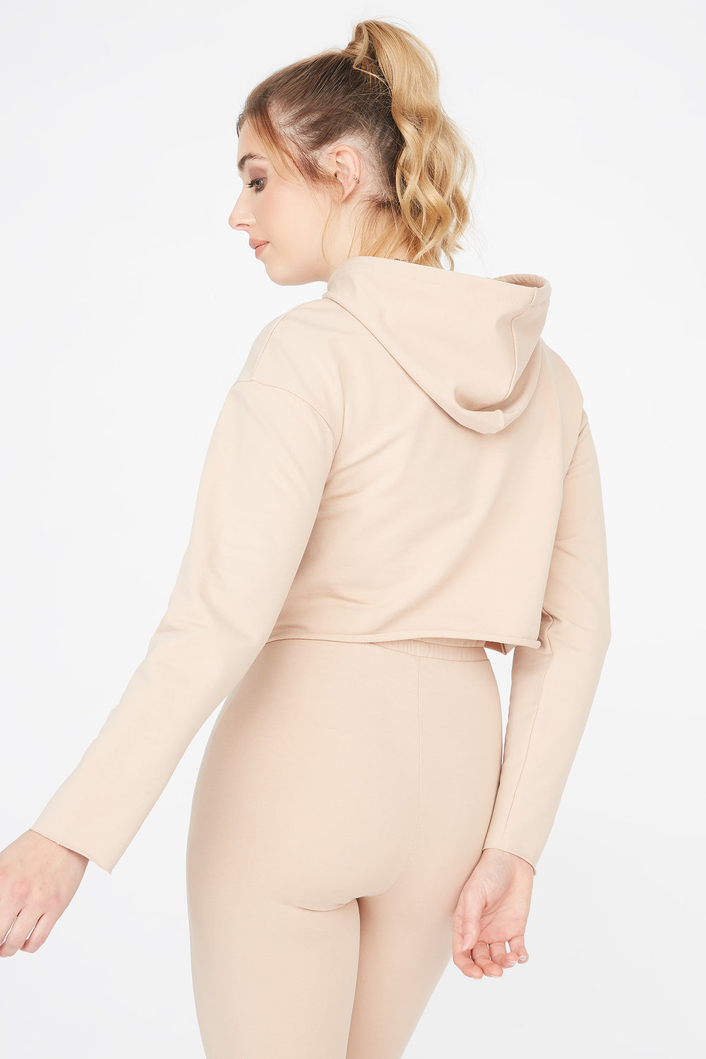 Cropped Popover Hoodie Camel