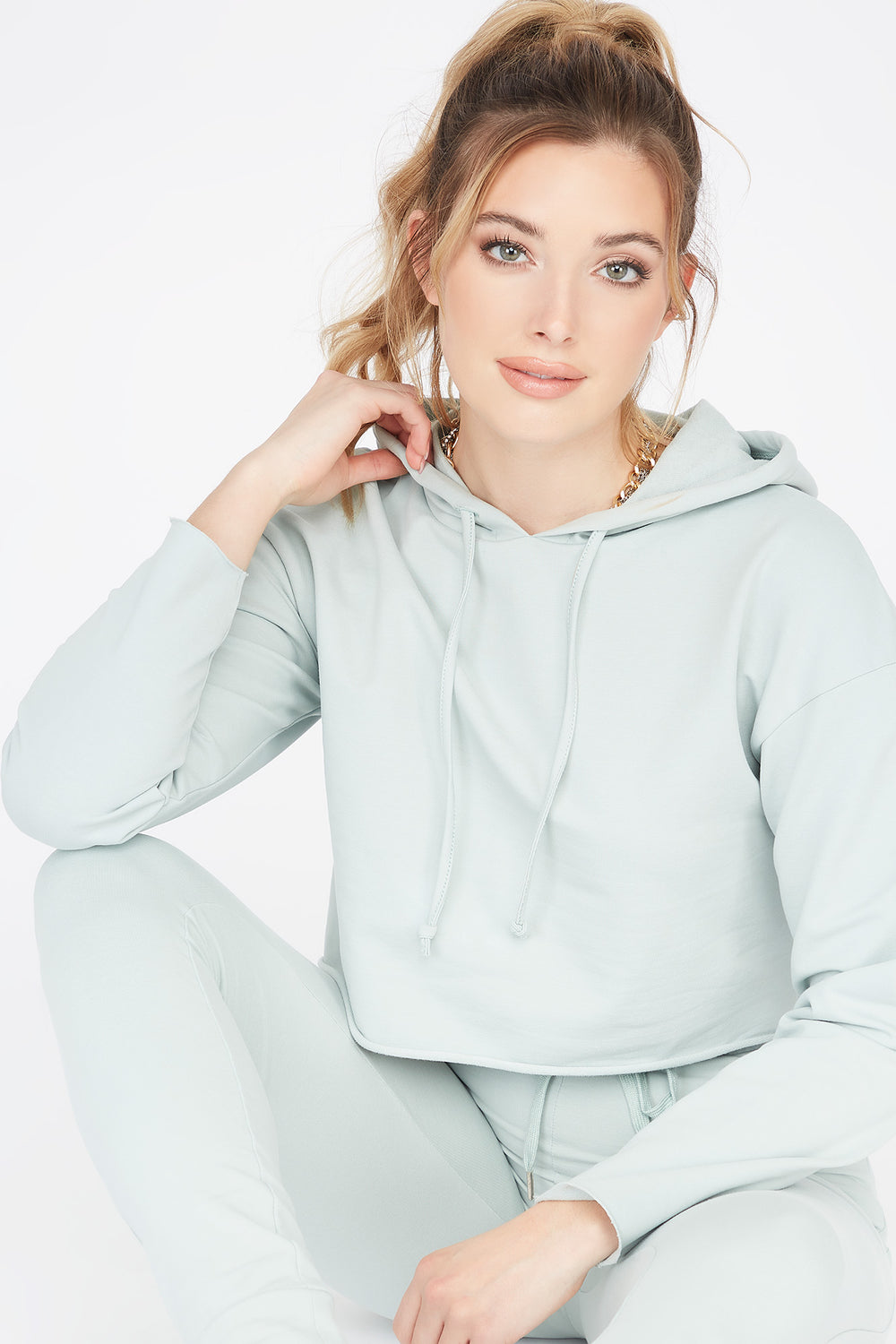Cropped Popover Hoodie Green
