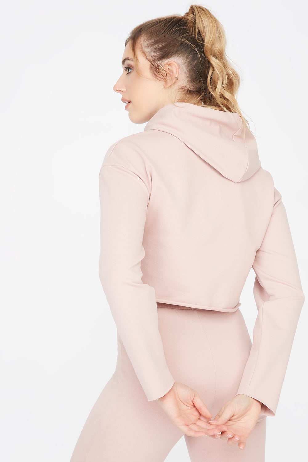 Cropped Popover Hoodie Rose