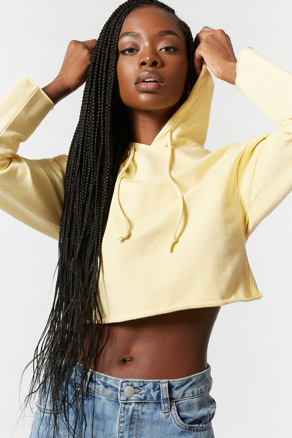 Cropped Popover Hoodie Yellow