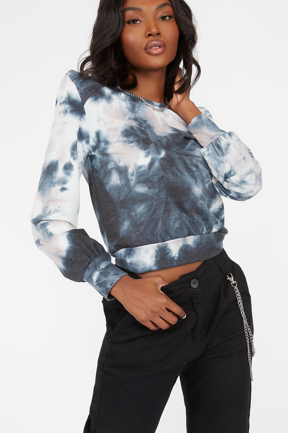 Tie-Dye Power Shoulder Long Sleeve Top Blue